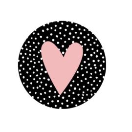 Kadosticker zwart met stippen en roze hart | 35mm | per 5 stuks