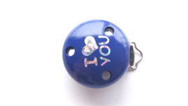 Speenclip 'I Love You' Donker Blauw