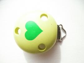 Speenclip Hart Licht Groen/Groen