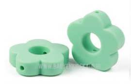 Siliconen Kraal Bloem Mint Groen 27x27mm