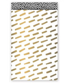Kadozakje Wit met Gouden streepjes 12x19cm | Per 5 stuks