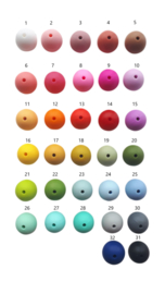 Alle effen kleuren siliconen kralen rond op een rij