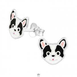 Zilveren Kinder Oorbellen Hondje Zwart/Wit