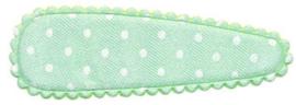 Compleet Haarspeldje (Hoesje+KlikKlak)  Mint groen met witte stippen 5cm