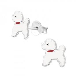 Zilveren Kinder Oorbellen Hondje Wit