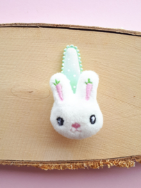 Haarspeldje Mint Groen 5cm met stoffen konijntje