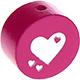 Speenkoord Kraal Glitter Hartjes Donker Roze 20mm