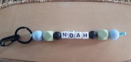 Sleutelhanger met naam met siliconen kralen | Model Noah