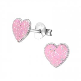 Zilveren Kinder Oorbelen Hartje Glitter Roze