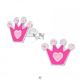 Zilveren Kinder Oorbellen Kroontje Roze met hartje