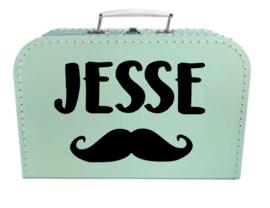 Kinder Koffertje met naam en snor model Jesse, 25cm
