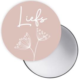 Spiegeltje met tekst 'Liefs' in roze met paardenbloem