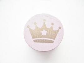 Schijfkraal Kroontje Pastel Roze/Goud 20mm