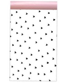Kadozakje wit met zwarte hartjes 12x19cm | Per 5 stuks