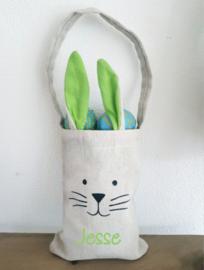 Jute zakje paashaas Groen | leuk voor het zoeken van eieren