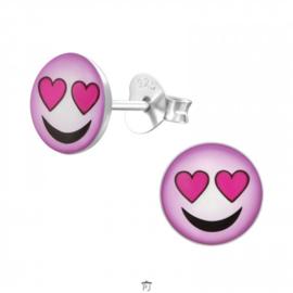 Zilveren Kinder Oorbellen Smiley Roze met hartjes ogen