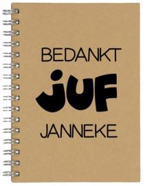 Notitieboekje A5 Bedankt JUF met naam | Leuk kado voor bedankje of afscheid juf