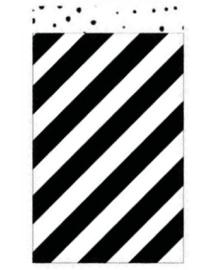 Kadozakje Diagonale streep zwart/wit 12x19cm | Per 5 stuks