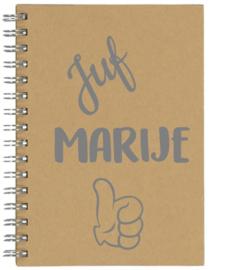 Notitieboekje A5 Juf ..... met Duim | Leuk kado voor bedankje of afscheid juf
