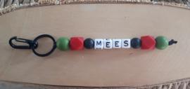 Sleutelhanger met naam met siliconen kralen | Model Mees