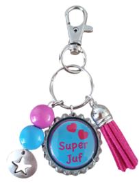 Sleutelhanger Super Juf Roze &  Aqua Blauw | Bedankje voor einde schooljaar