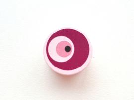 Speenkoord Kraal Boze Oog Pastel Roze 20mm