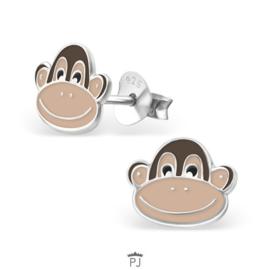 Zilveren Kinder Oorbellen Aap cartoon