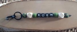 Sleutelhanger met naam met siliconen kralen | Model Koen