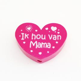 Hartje 'Ik hou van mama' Donker Roze 30x25mm