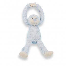 Slingeraapje  | zacht knuffeltje met naam en geboortedatum | Blauw 45cm