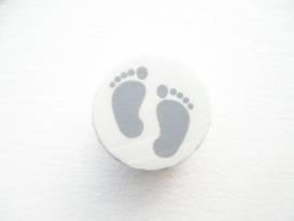 Speenkoord Kraal Babyvoetjes Wit/Grijs 16mm