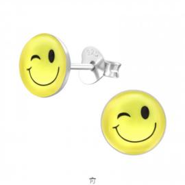 Zilveren Kinder Oorbellen Smiley Knipoog