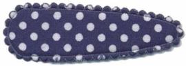 Haarkniphoesje Donker Blauw met witte stippen 5 cm