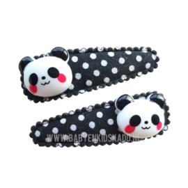 Haarspeldjes Panda's op een klikklak speldje zwart met witte stippen | 5cm