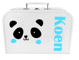 Kinder Koffertje met naam en pandabeer model Koen, 25cm