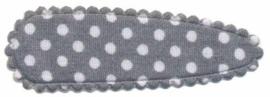 Haarkniphoesje Grijs met witte stippen 5 cm