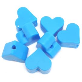 Silicone Kraal Hartje voor Speenkoord Midden Blauw 10x8mm