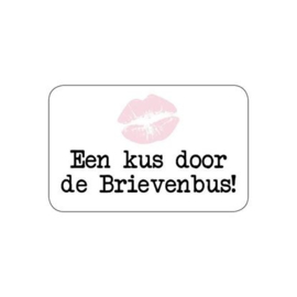 Sluitzegel of sticker 'Een kus door de brievenbus' | per 5 stuks