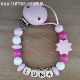 Speenkoord met naam en houten kralen Luna