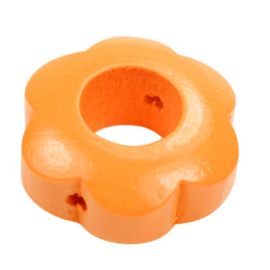 Speenkoord Kraal Bloem Oranje 30x30mm