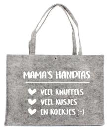 Vilten tas met opdruk 'Mama's handtas' | Leuk cadeau voor jouw moeder