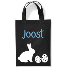 Katoenen tas voor Pasen met naam, paashaas en eitjes | Zwart