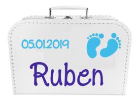 Kinder Koffertje met naam, geboortedatum en babyvoetjes model Ruben, 25cm