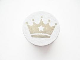 Schijfkraal Kroontje Wit/Goud 20mm
