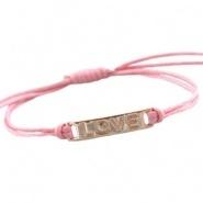 Armbandje Love Licht Roze met waxkoord schuifknoop