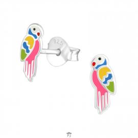 Zilveren Kinder Oorbellen Papegaai vrolijk gekleurd