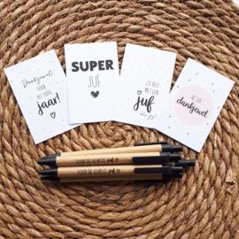 Pen voor 'de leukste juf' inclusief mini kaartje
