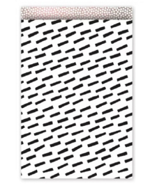Kadozakje Wit met zwarte streepjes 12x19cm | Per 5 stuks