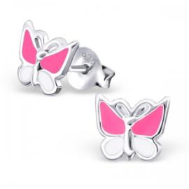 Zilveren Kinder oorbellen Vlinder Roze/Wit