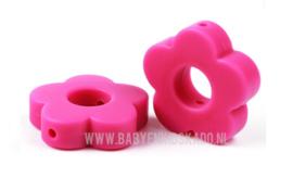 Siliconen Kraal Bloem Raspberry Pink 27x27mm